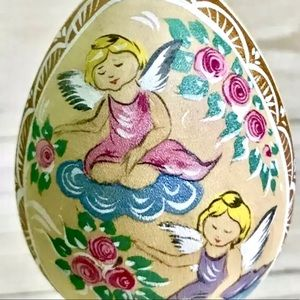 Russian Wooden Egg Angel Figurine Decor Holiday